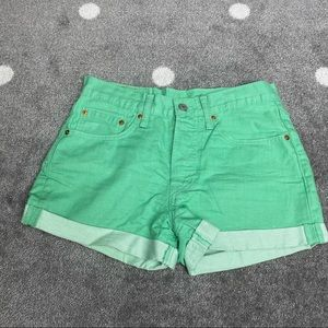 Levi's 501 green denim shorts